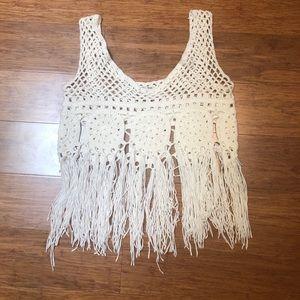 Nordstrom Boho white crochet fringe tank top. XS/S